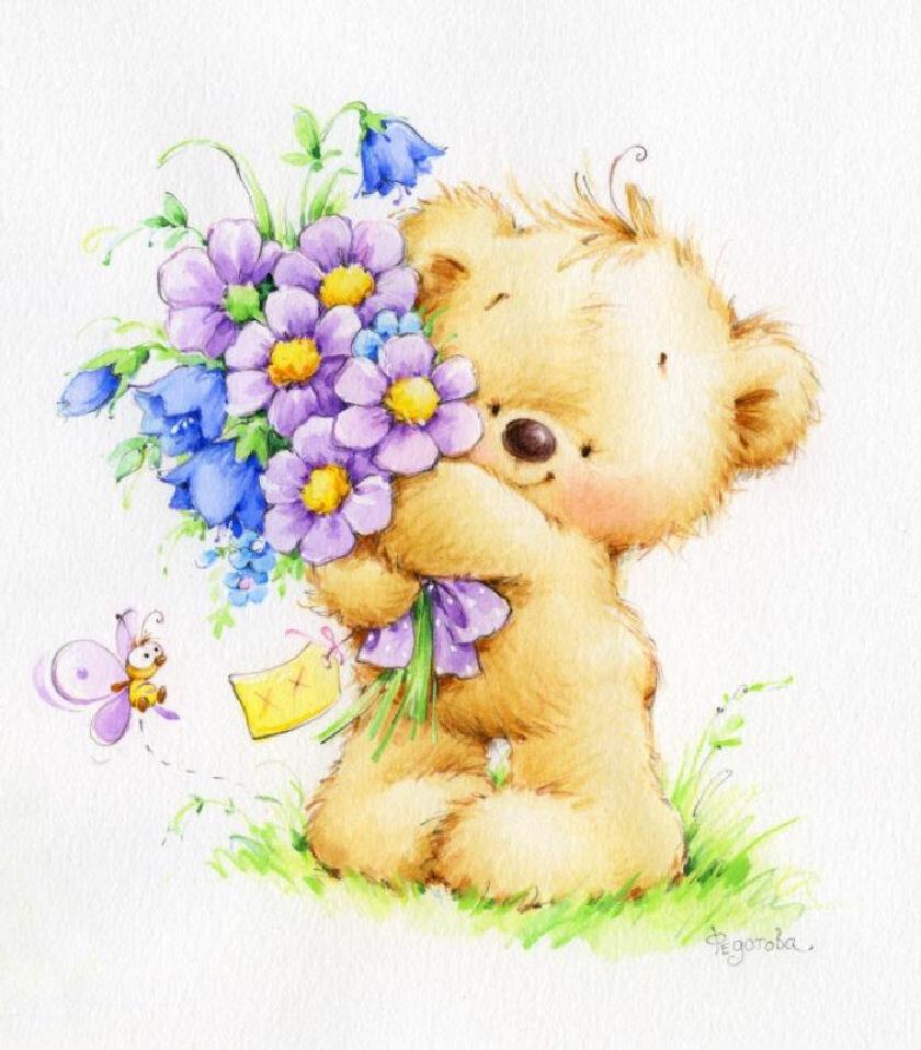 Поздравлялки днем, детские открытки с цветами