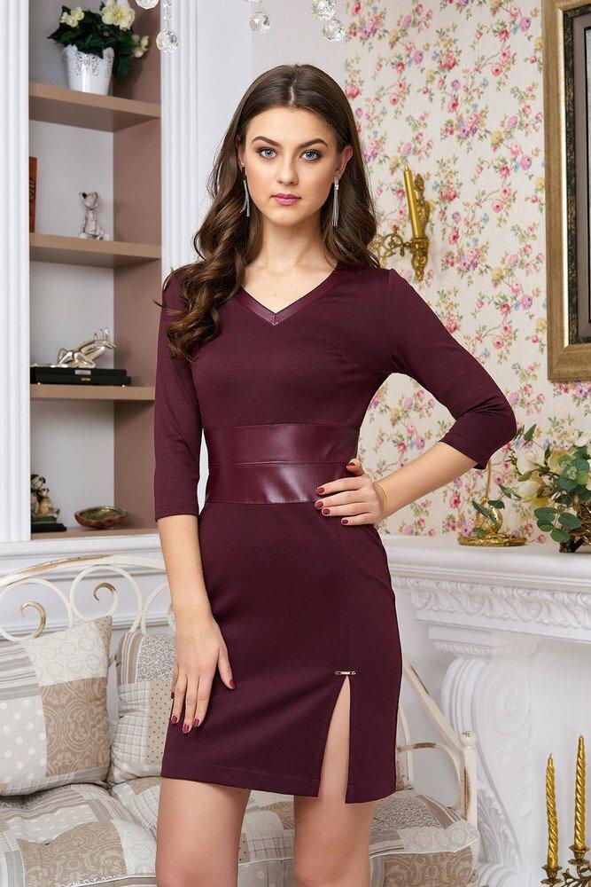 Платье бордовое с кожаным поясом фото