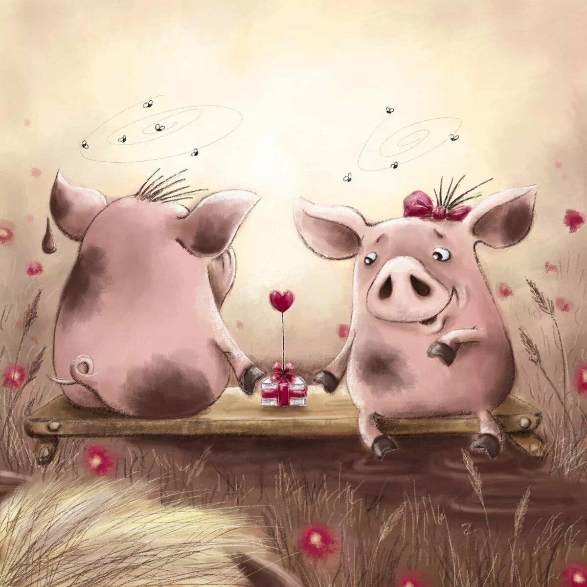 Прикольные картинки влюбленные свинки