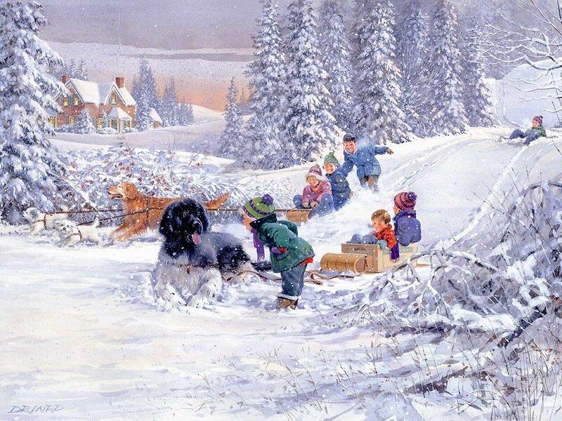 Картинки зимних забав с анимацией, светлой
