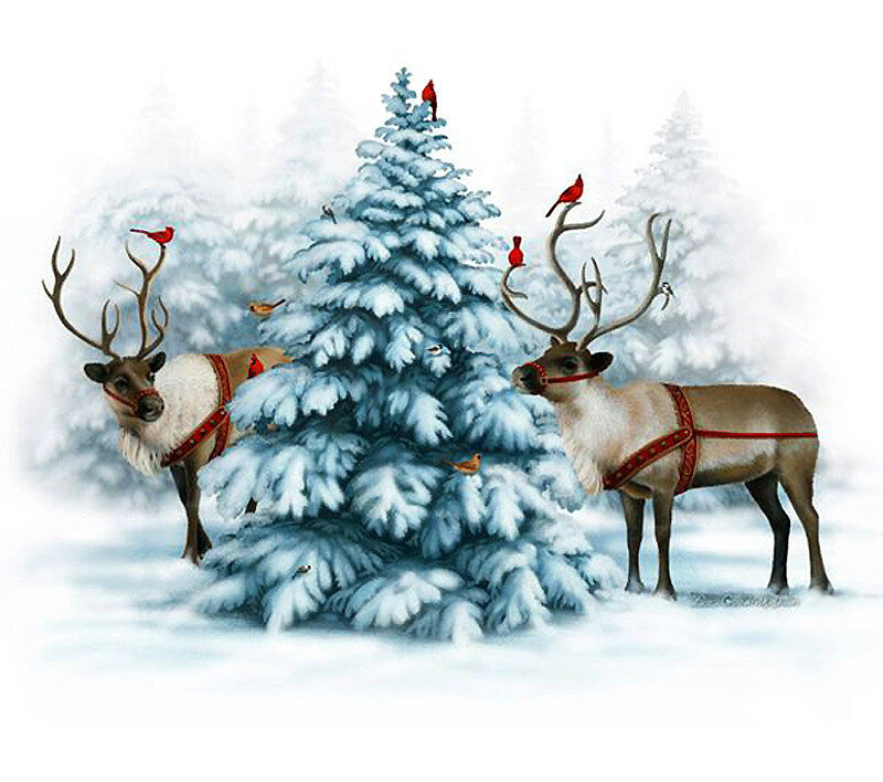 Открытка, картинки с новым годом с оленем