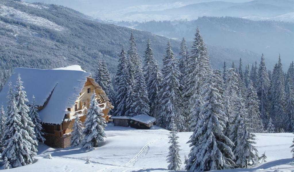 зимний пейзаж с виллой фото создания