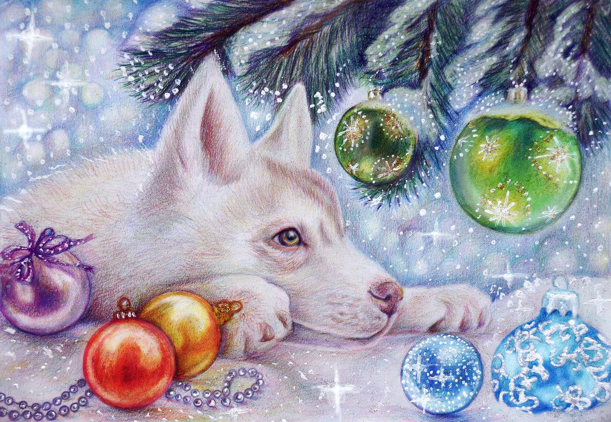 Картинки новогодних рисунки, пожелания днем