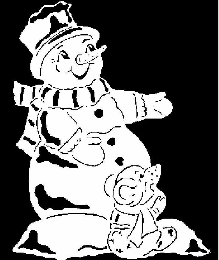 картинки снежинки дом снеговик для окон вырезать