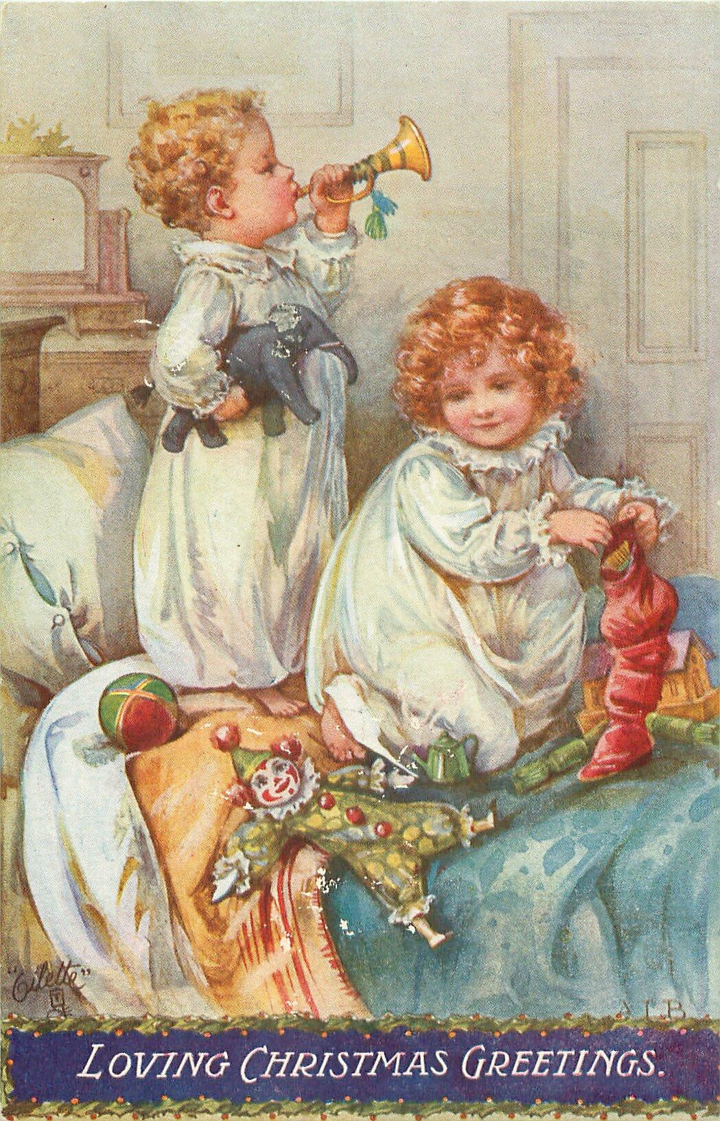 Приглашаем завтрак, винтажные открытки дети рождество