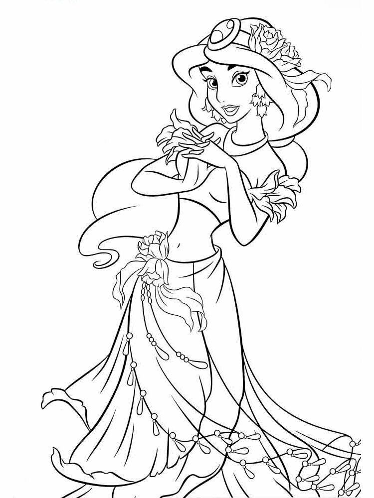 Красивые цветы, раскраски с принцессой жасмин