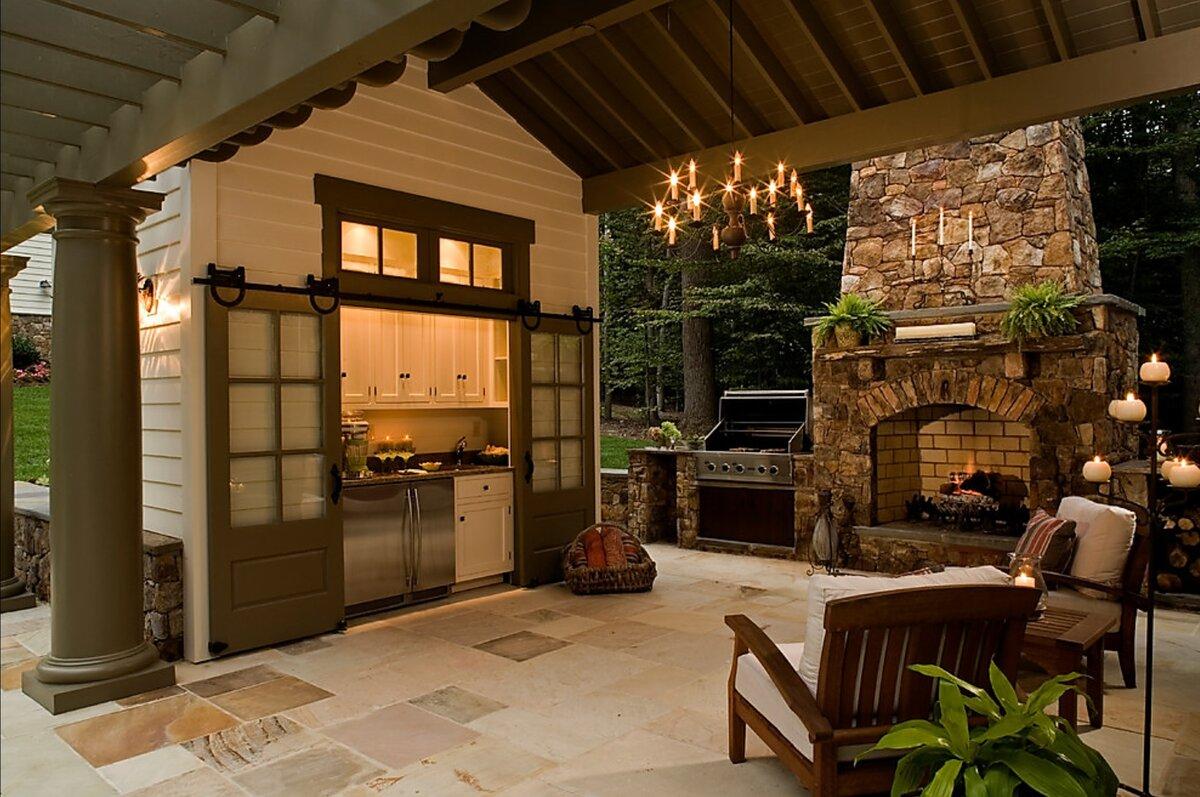 дизайн летней кухни во дворе