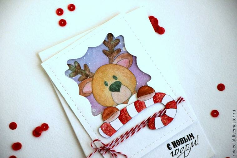 Открытки как нарисовать новогоднюю открытку
