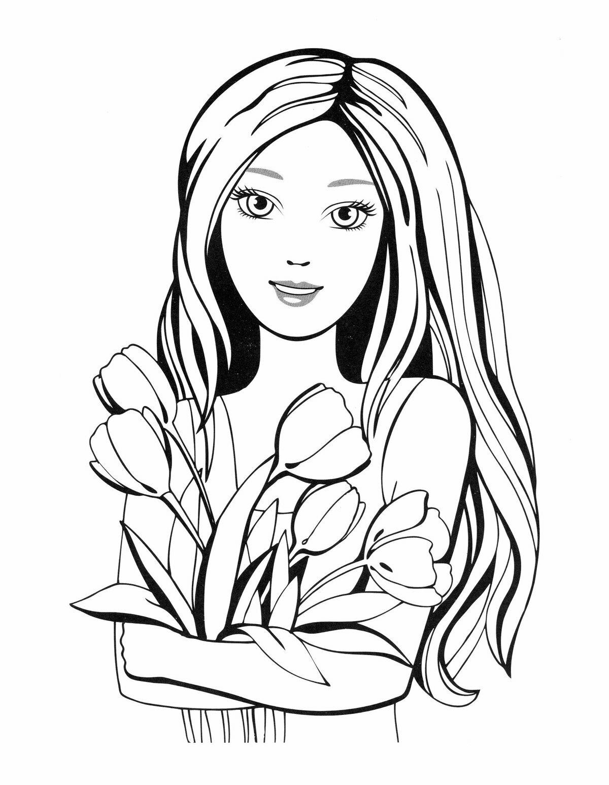 Картинки с красивыми девочками раскраска