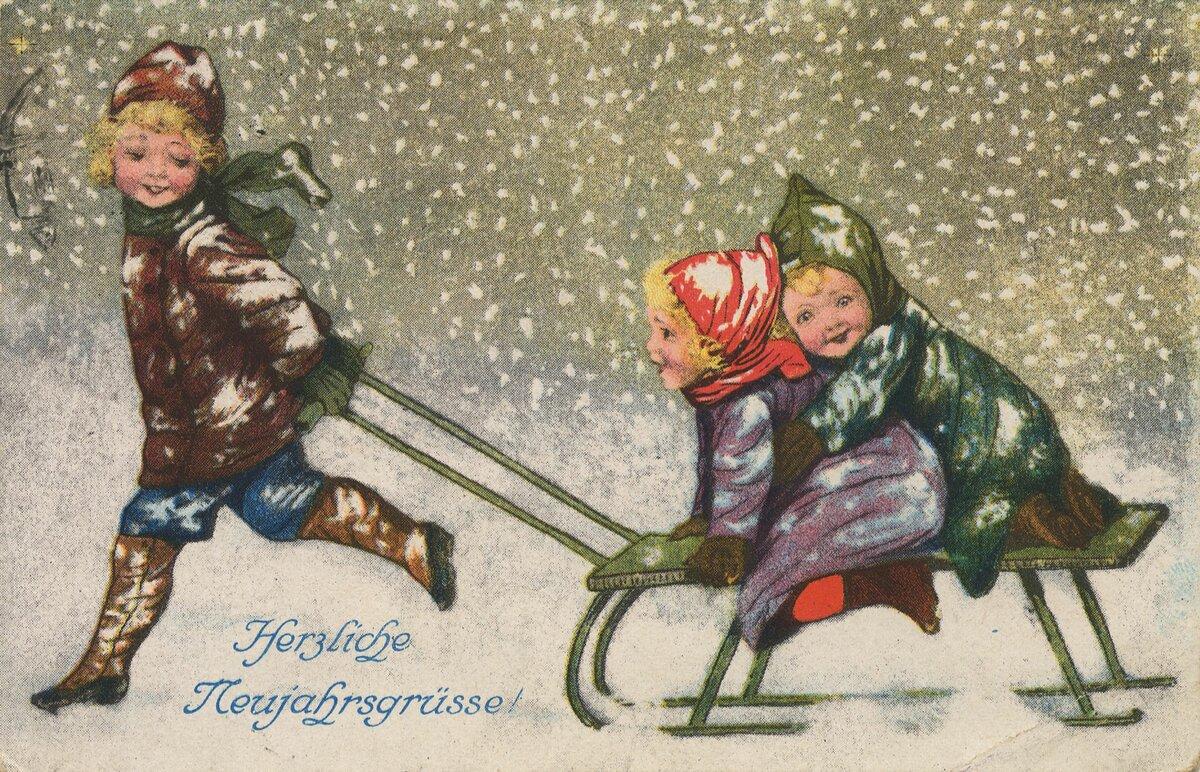 Пасхе, открытка с новым годом 20 века