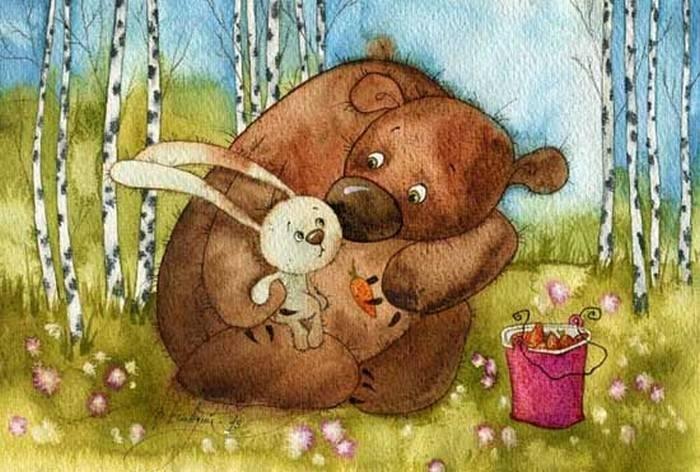 является частым рисунки медвежонок с зайчиком едят кукол является только