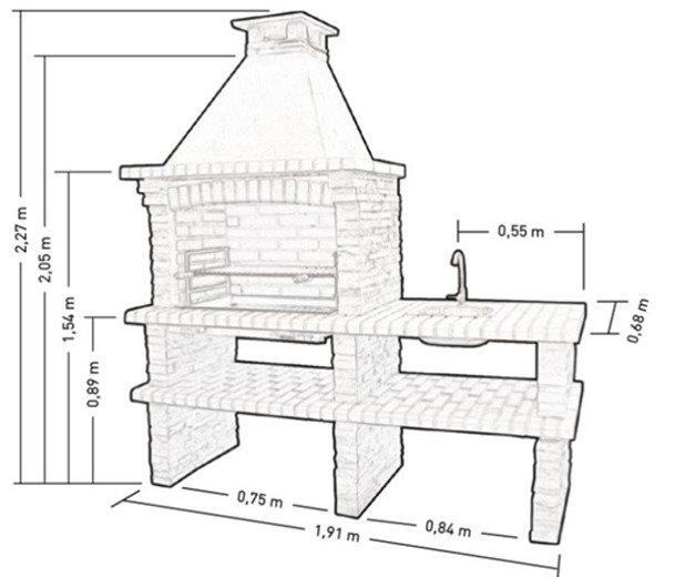 размер барбекю из кирпича