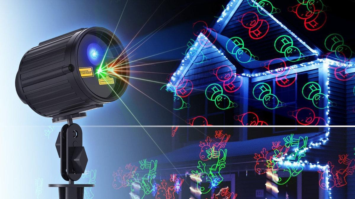 Лазерный проектор для Рождества в Горячем