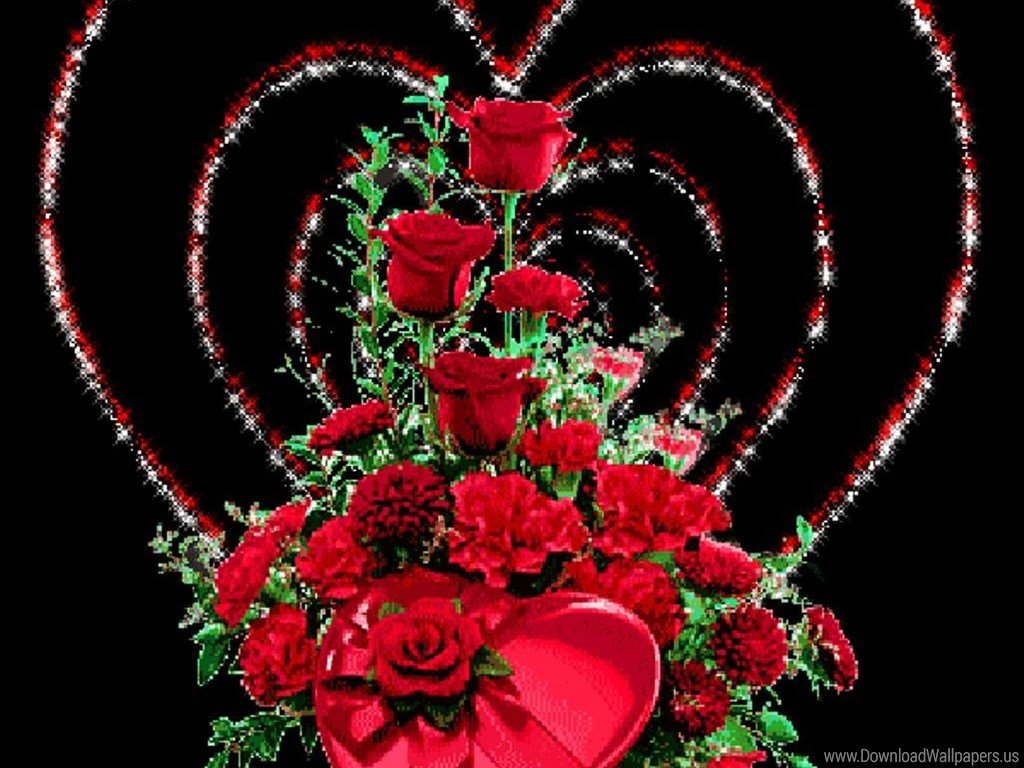 Анимашки сердечки и цветы