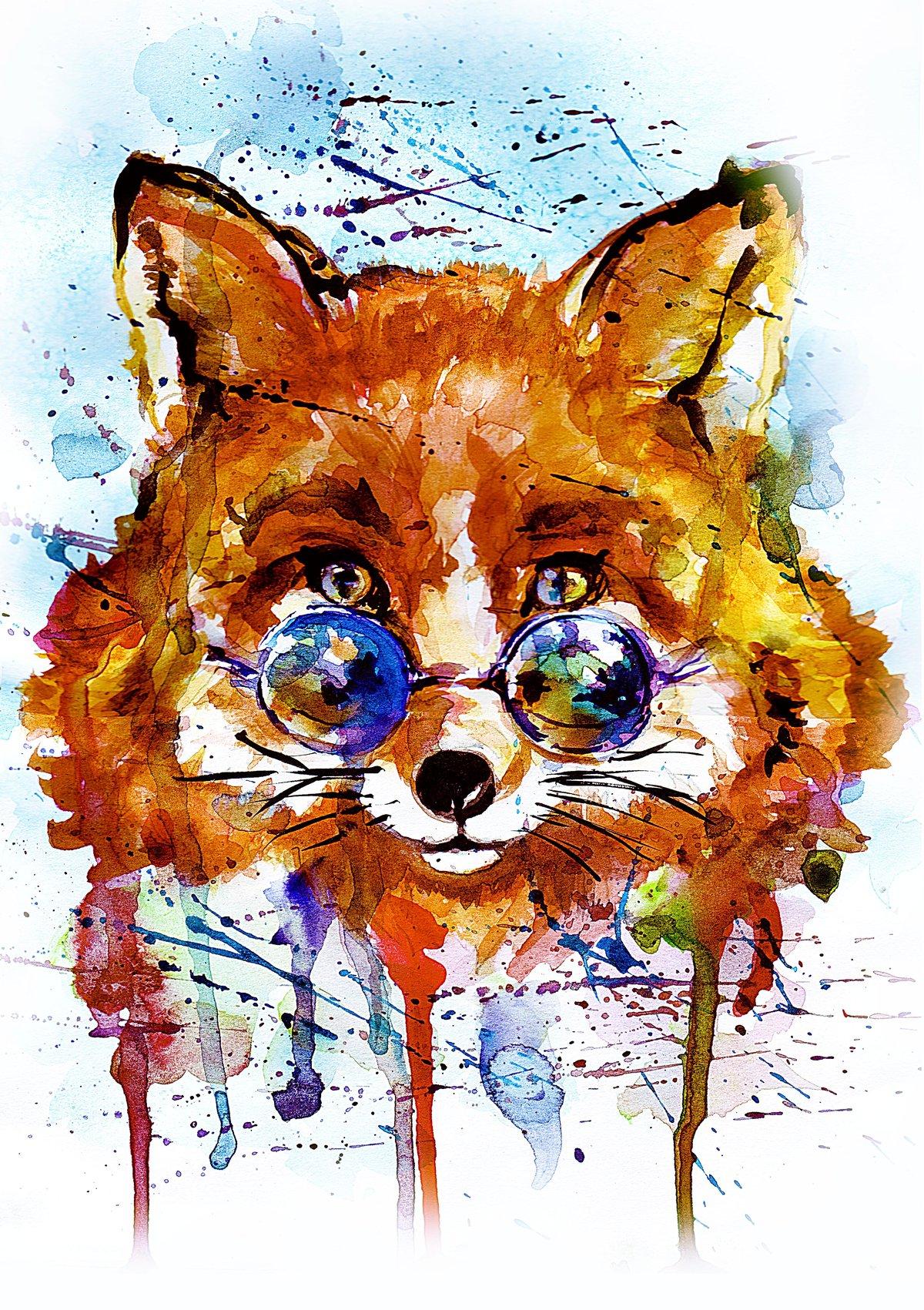 Рисунки животных акварелью прикольные, красивые
