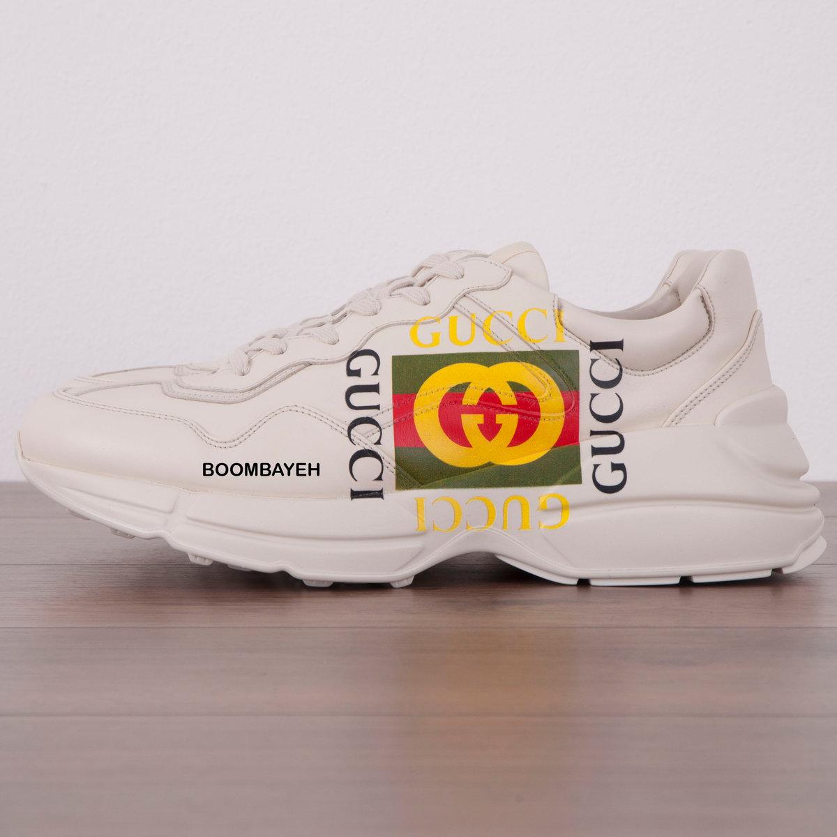 a52b5637efb8 Кроссовки Rhyton Gucci logo leather sneaker. - Подробнее по ссылке... 🛒  http