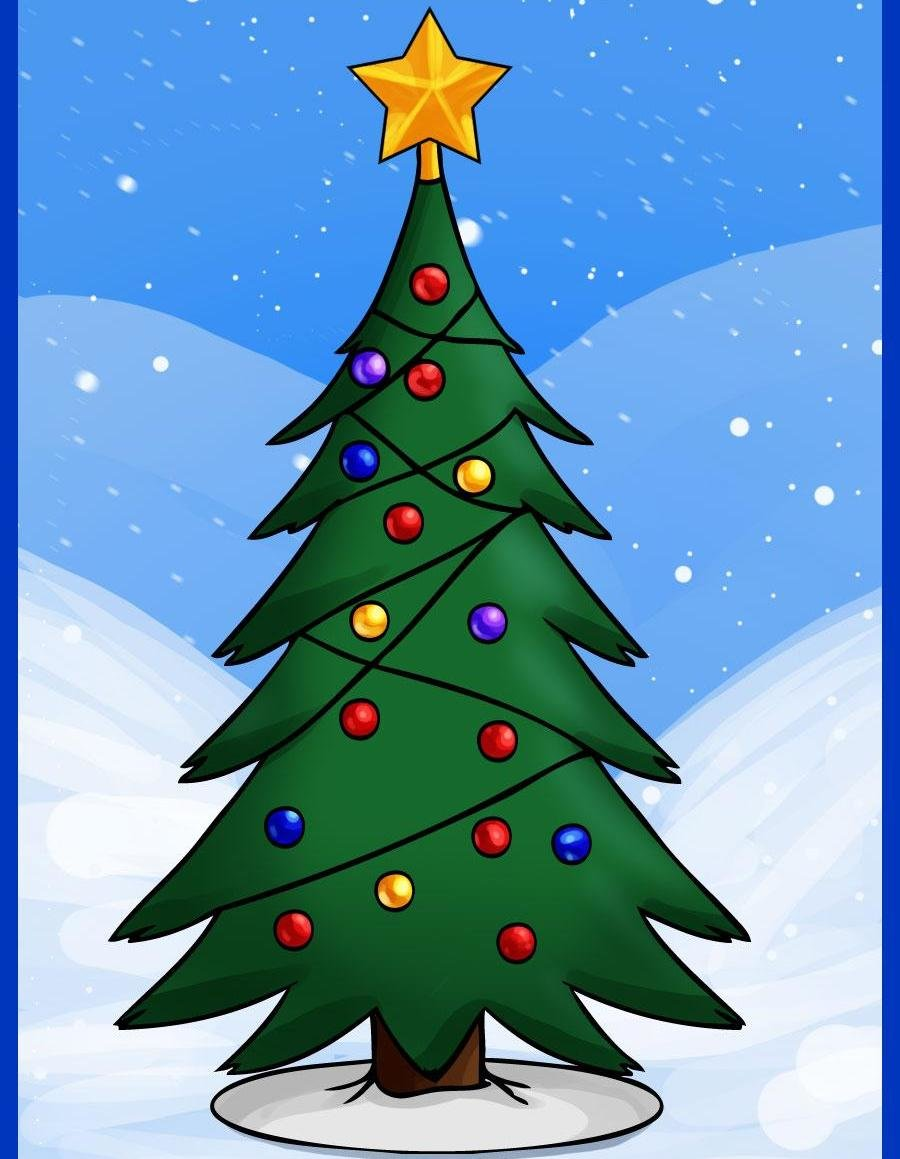 Новогодняя елка рисунок, травой внизу