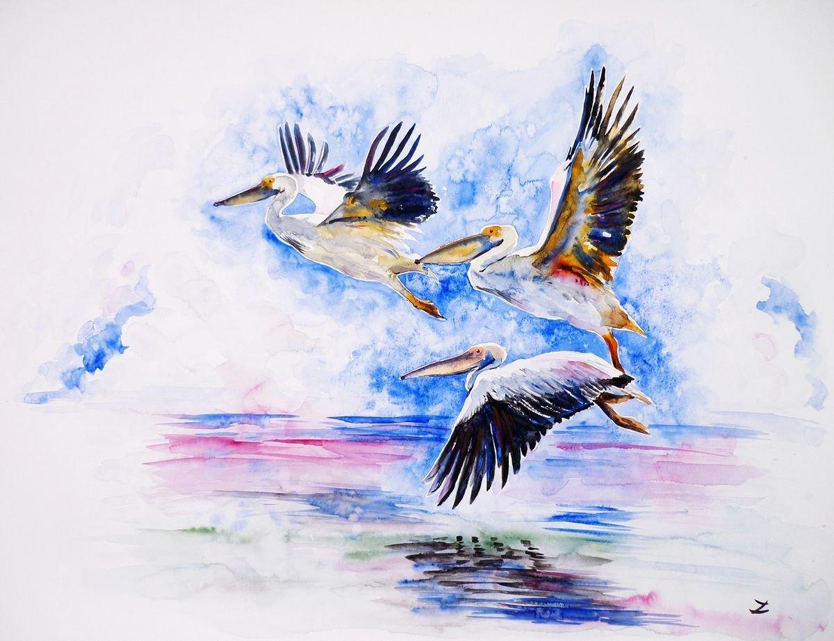 Полет рисунок акварель