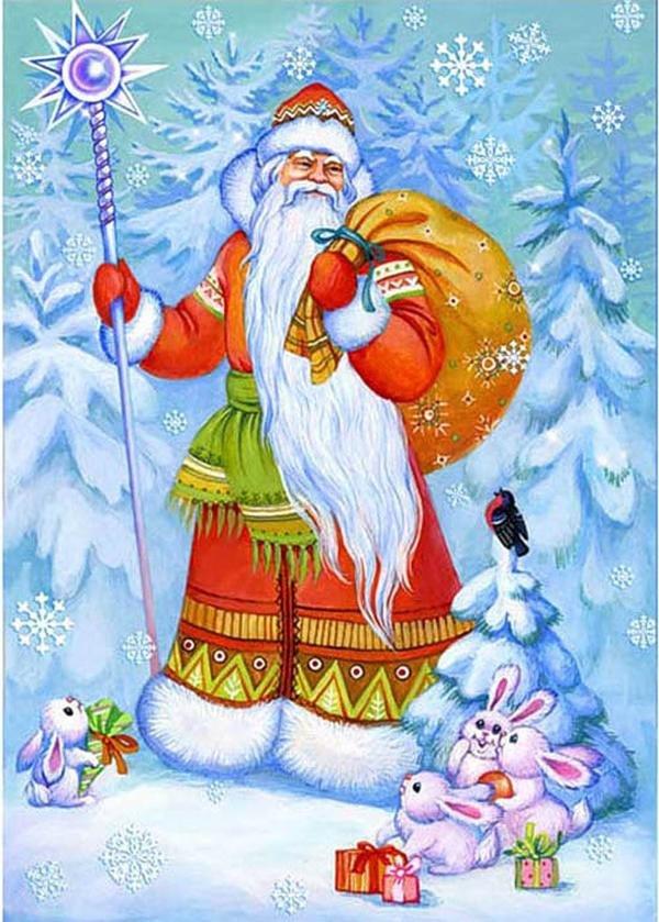 Кардс, открытка с новым годом дед мороз с мешком подарков