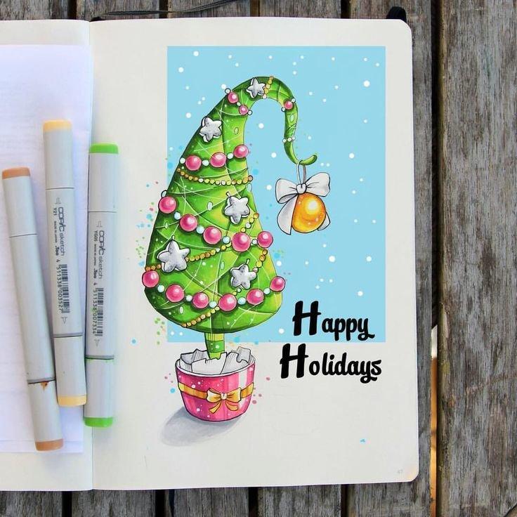 Новогодние открытки скетч, для детского
