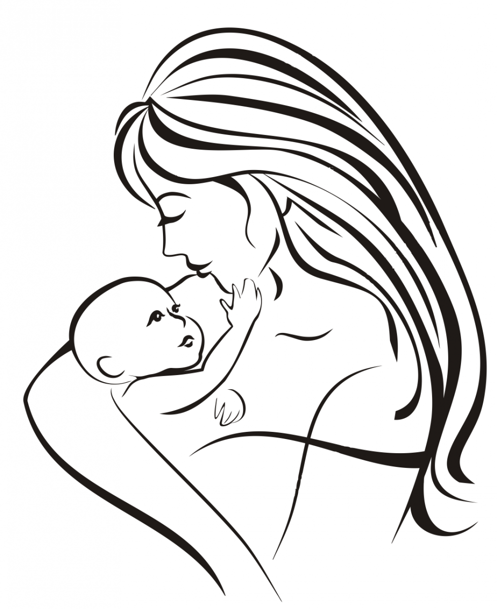Мама с ребенком картинки для срисовки