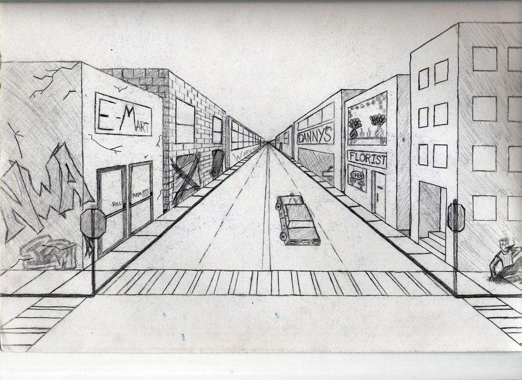 Рисунок города в перспективе