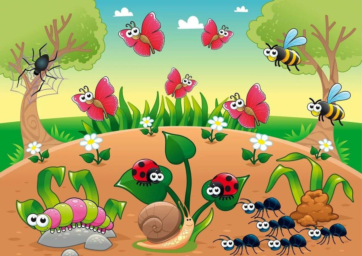 Картинки насекомые в траве для детей