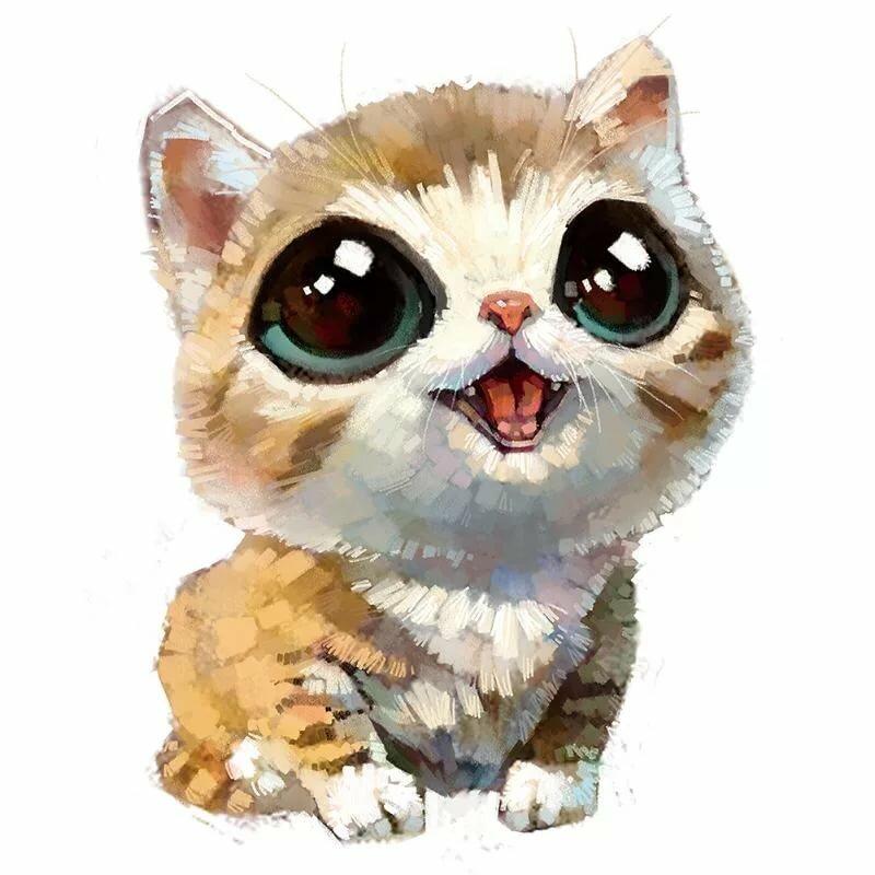 Самые милые картинки котиков для срисовки, анимация