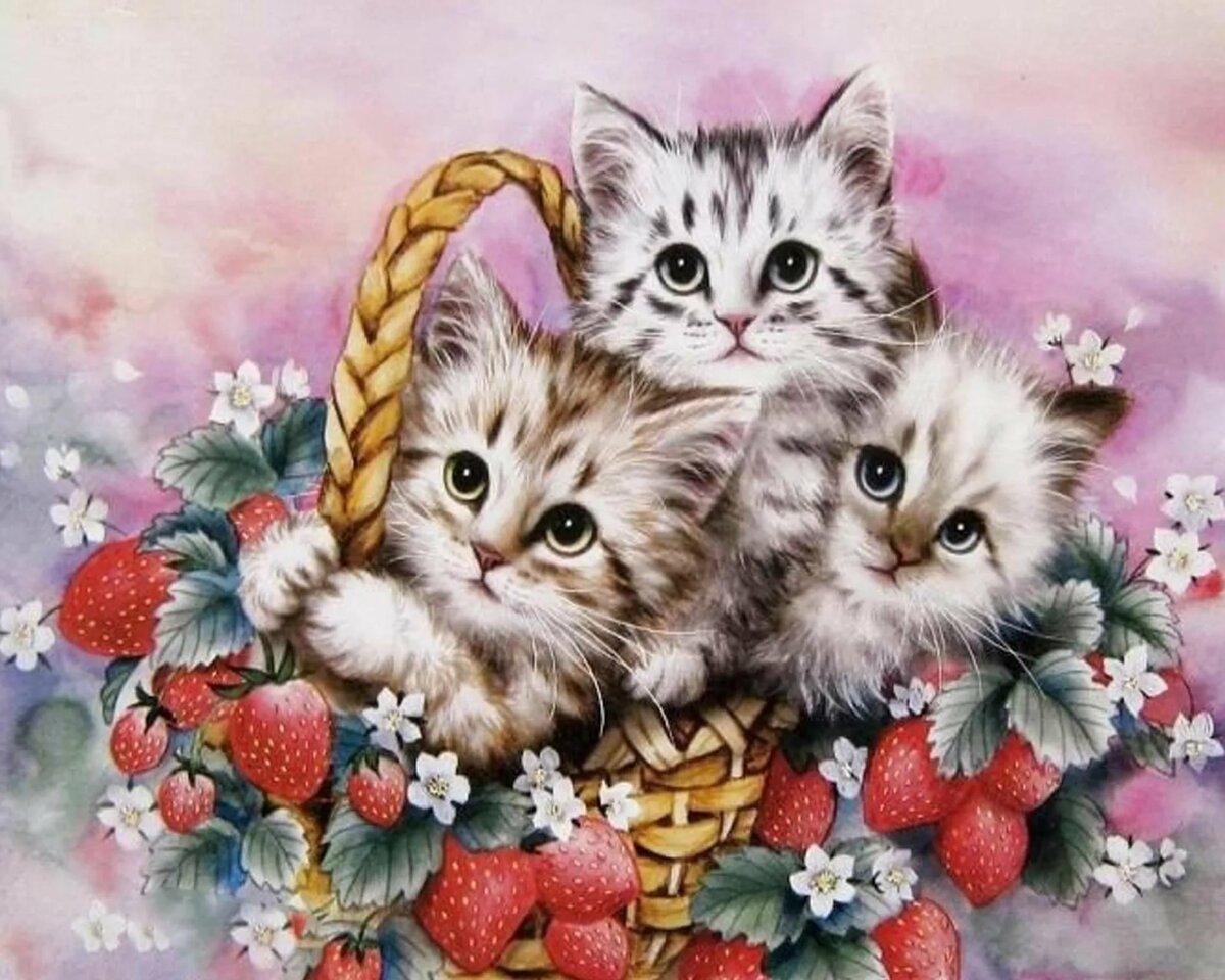 Открытка 2 кота