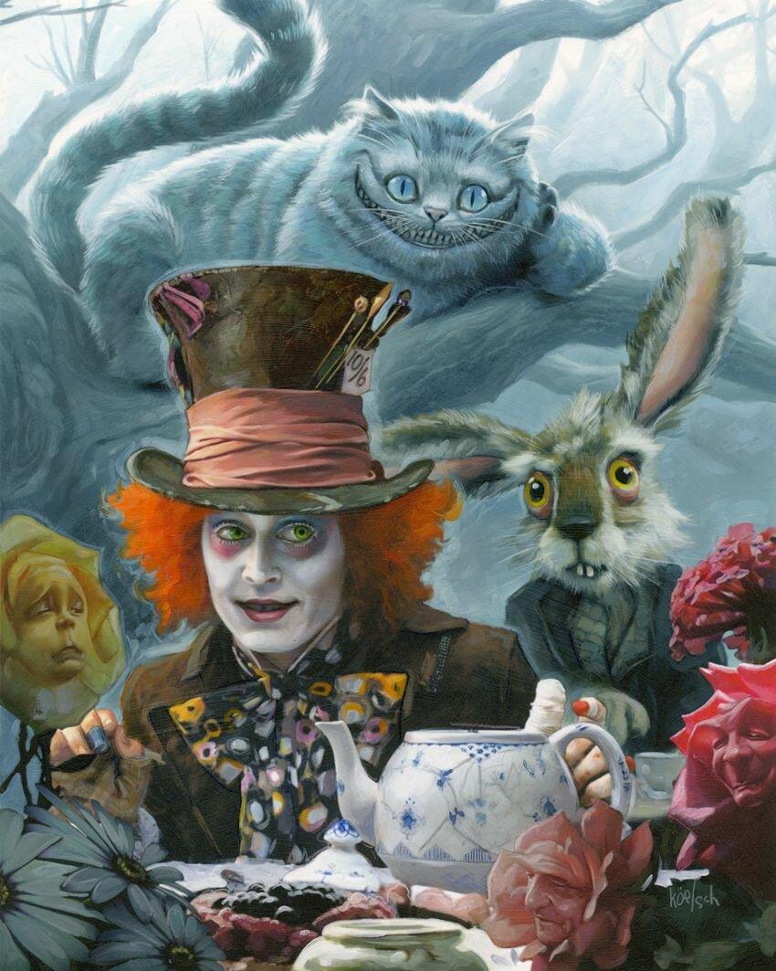 Чеширский кот и шляпник картинки