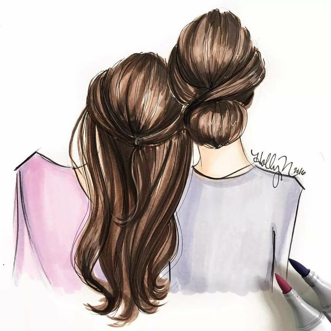 Картинки с сестрами рисовать