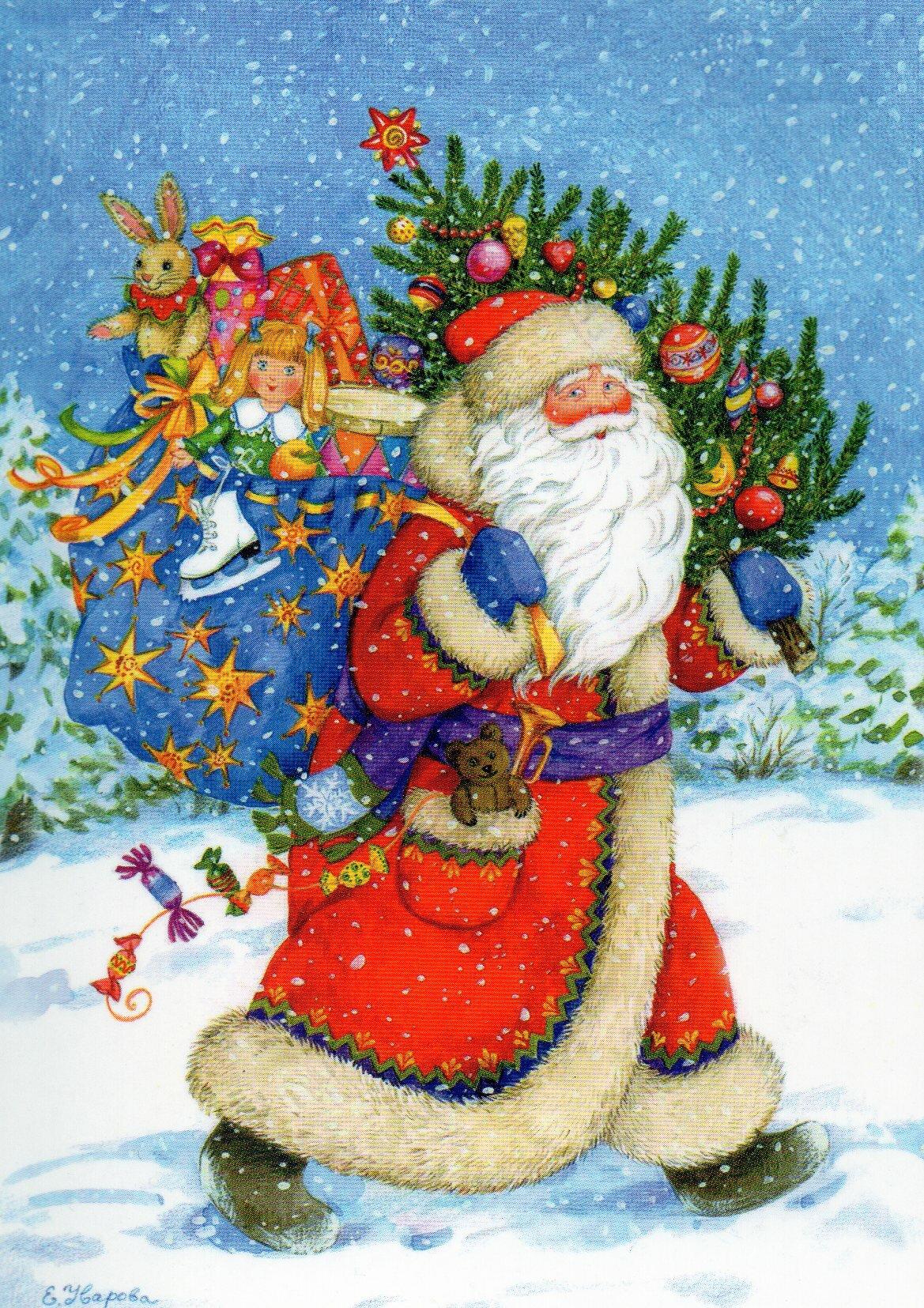 Новогодняя елка и дед мороз картинка