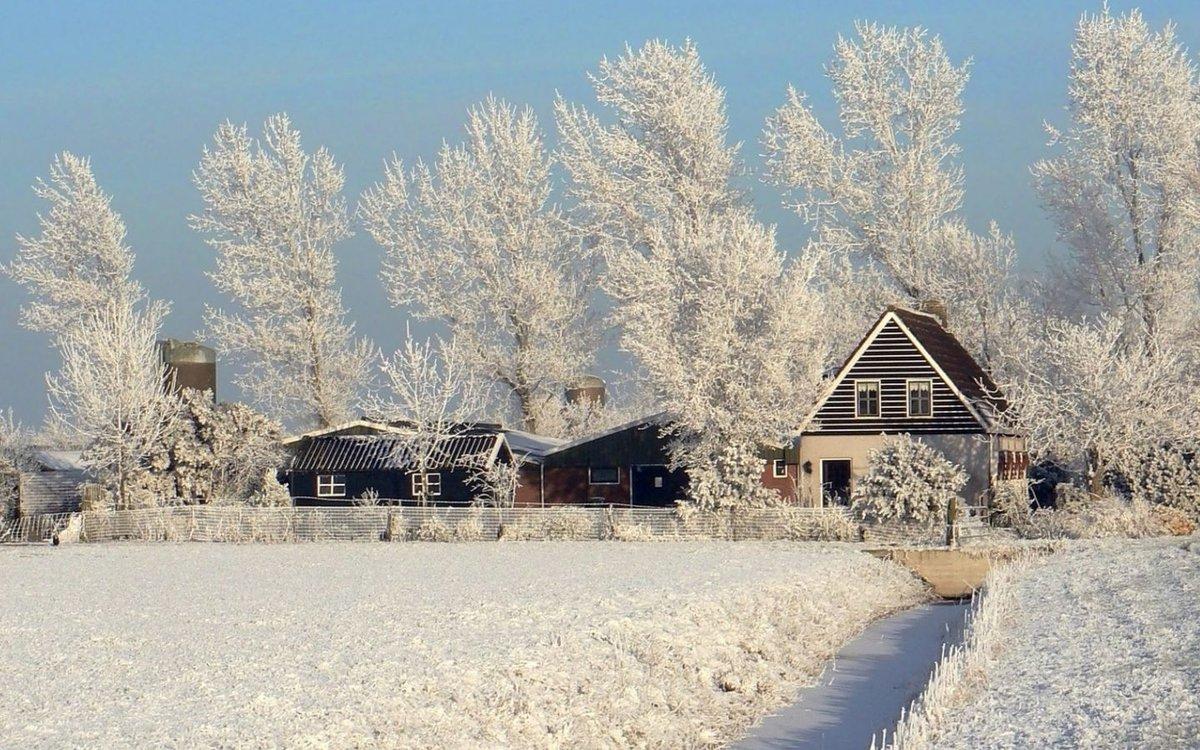 Картинки зима в деревне