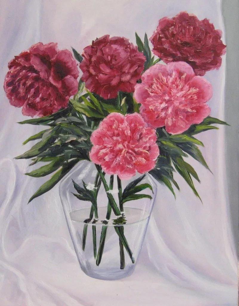 Букет пионов рисунок, цветов красноказарменной букет