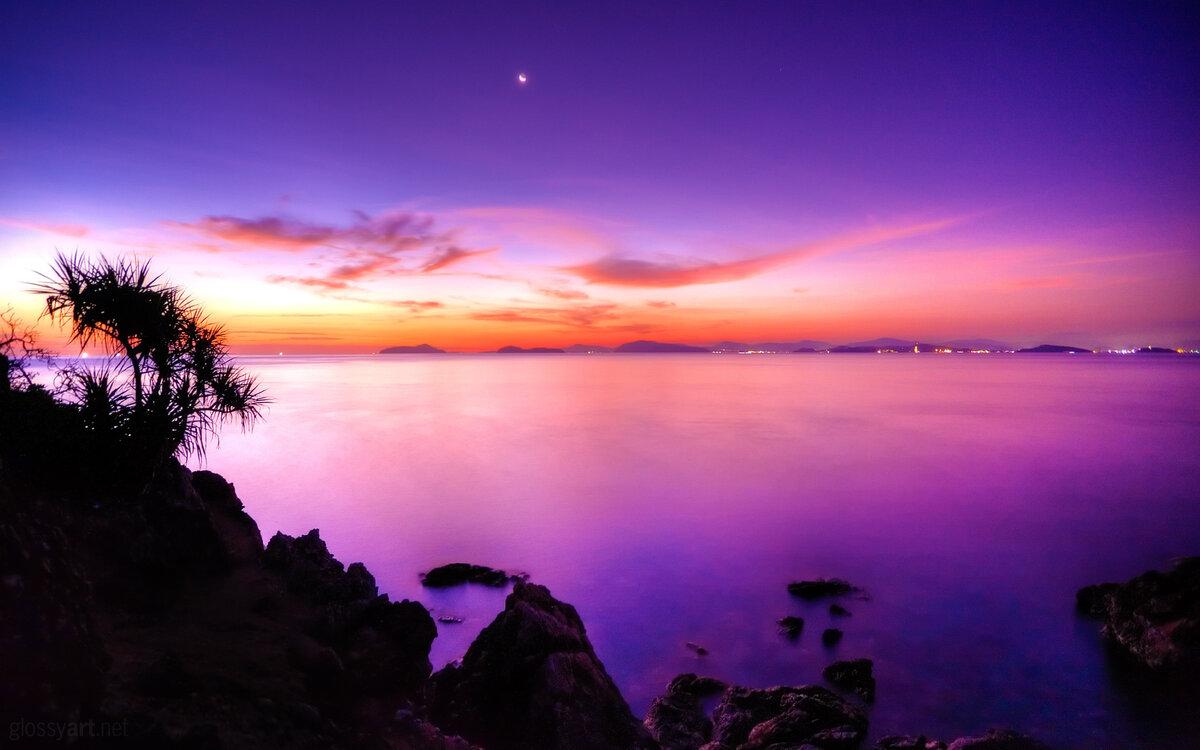 Картинки, картинки фиолетовый закат