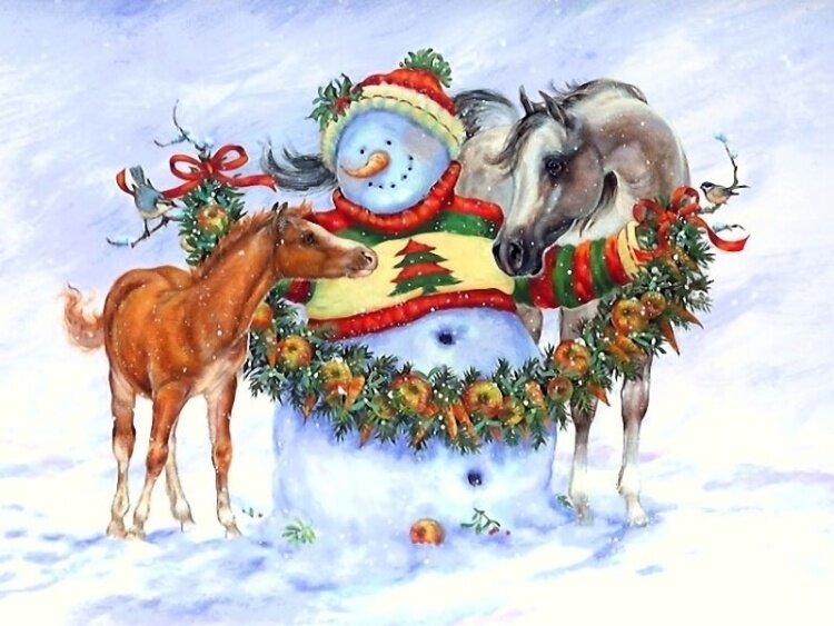 Лошади открытки с новым годом