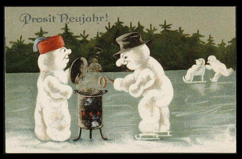 Дурацкие дореволюционные открытки с новым годом