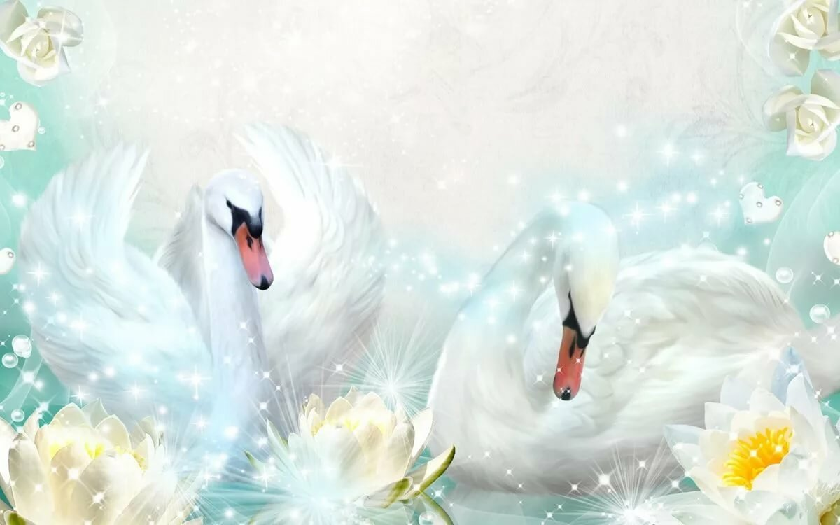Подарочные новогодние, открытка лебеди свадьба