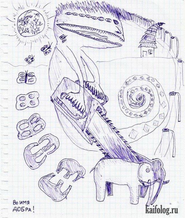 Рисунки в тетради смешные