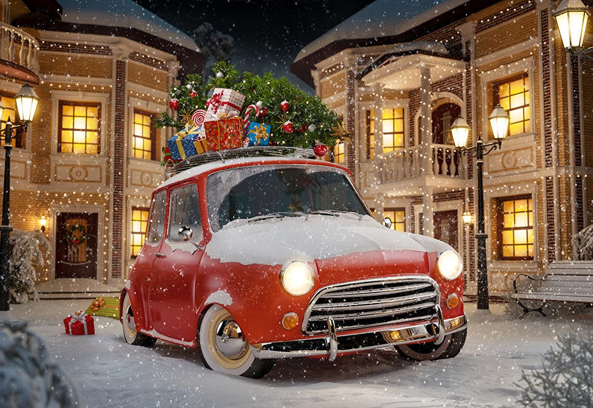 прикольные картинки новогодние авто