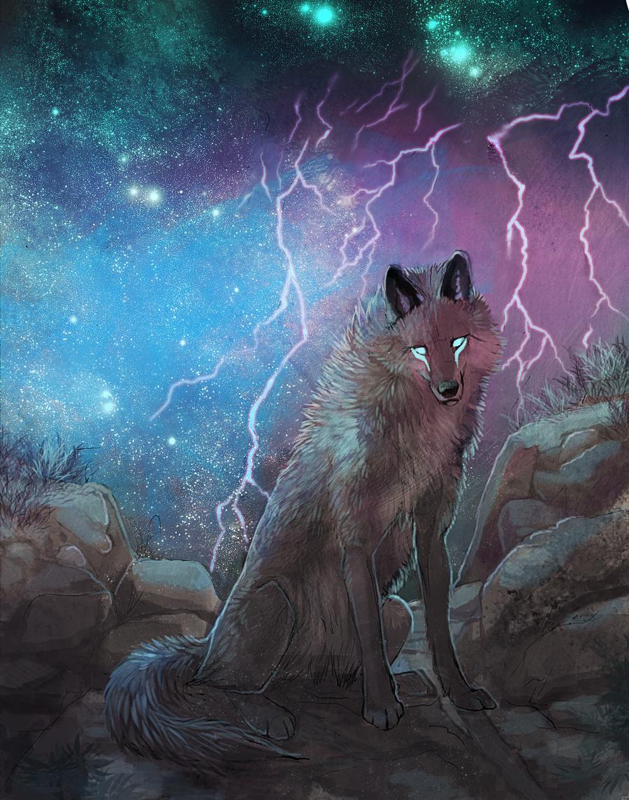 Фантастический волк рисунок