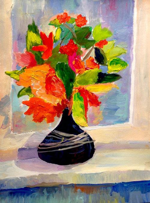 листья в вазе рисунок гуашью данные