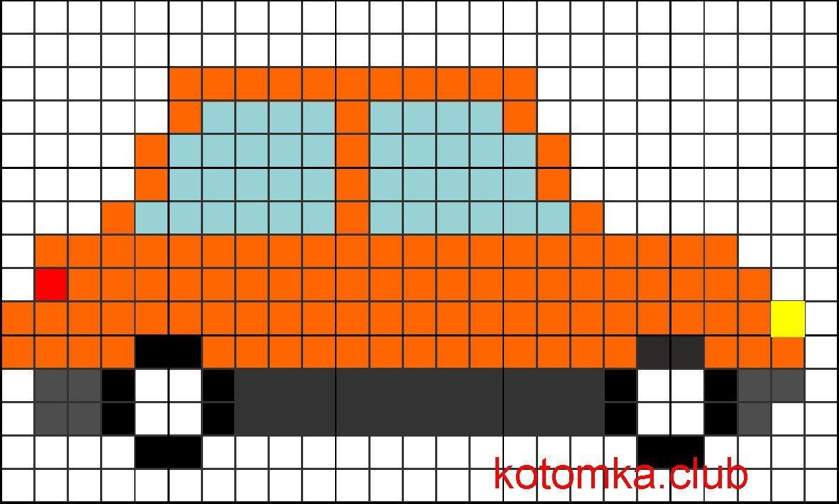 картинки машин по клеточкам в тетради маникюр