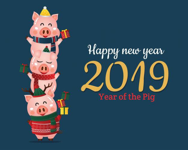 Открытка с новым китайским годом свиньи, смешная