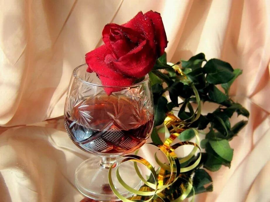 Открытки вино и цветы, картинки