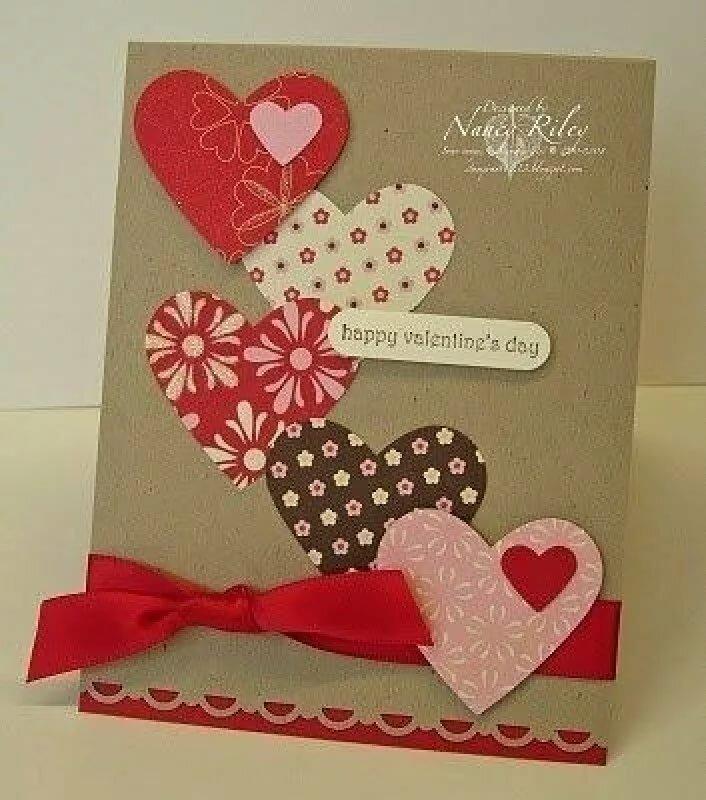 Самодельная открытка ко дню влюбленных