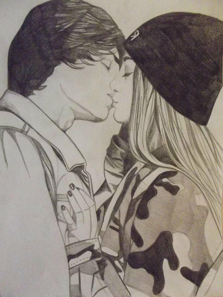 Картинки парень и девушка нарисованный