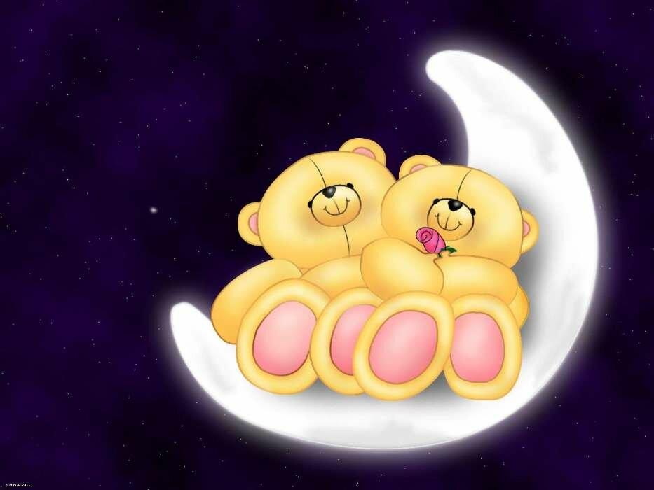 Прикольные картинки спокойной ночи с поцелуем