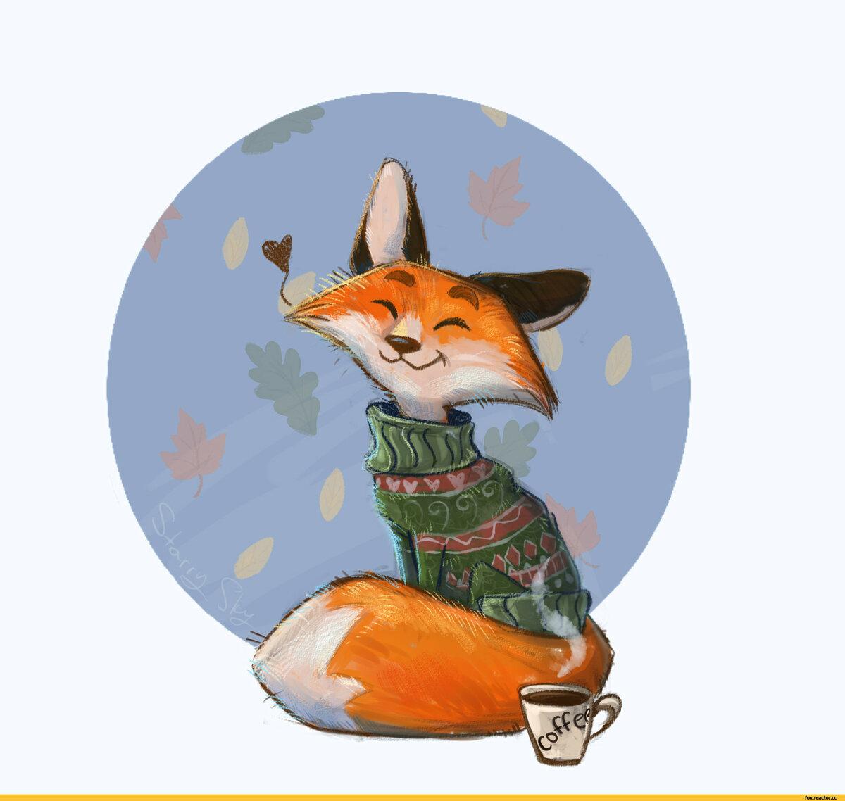 Открытки, прикольные рисованные картинки лисы