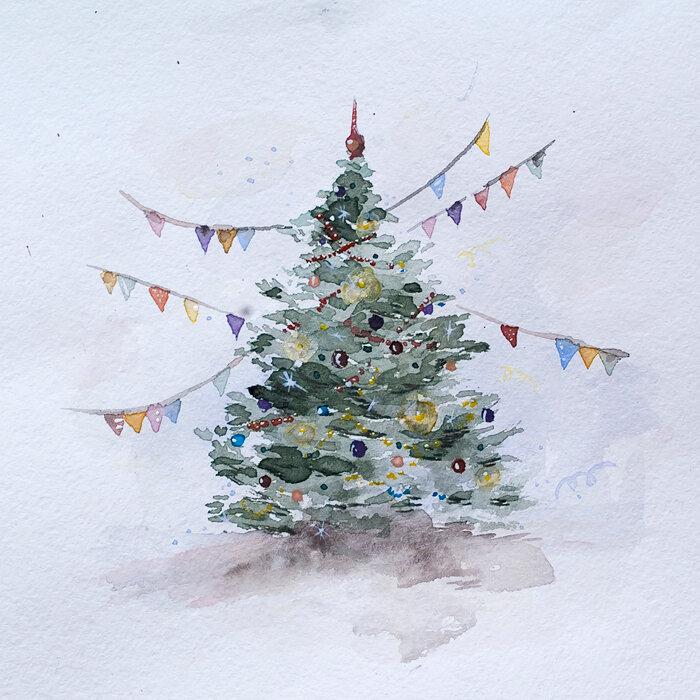 Надписями любимому, новогодние картинки с елочками нарисовать видео акварелью